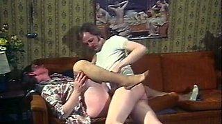 mature and ugly pale skin white lady boned on the couch