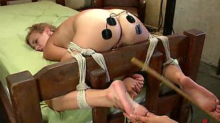 Innocent looking Blonde Teen Is Tied Up And Greeted With Some Femdom Fun