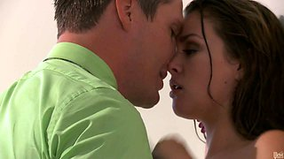 Sexy brunette babe gets her wet tasty pussy licked actively