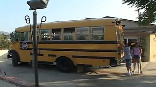 Ashley Blue Works Two Weiners On The School Bus