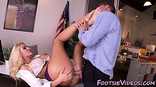 Office ho licks cum toes