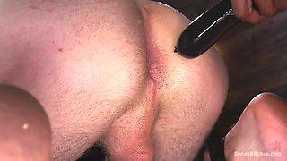 muscular ebony woman fucks his ass