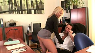Slutty secretary Kathia Nobili gives her boss a ride on the office table