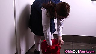 Girls Out West - Curvy hairy schoolgirl films her masturbation