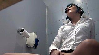 Horny girl caught in office toilet room