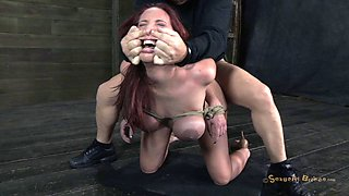 Curvaceous redhead called Kelly getting punished in the basement