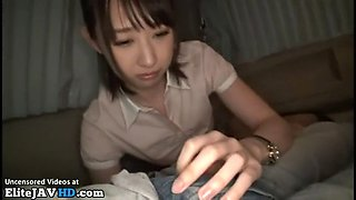 Jav tiny assistant in pantyhose blows her boss