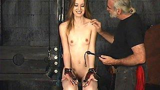 Skinny slut gets spanked in BDSM