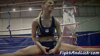 Amateur beauties wrestling and pussylicking