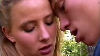 Marvelous sexy European babe in the woods with her lover