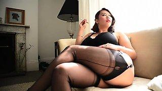 curvy asian FF Nylons beauty smoking e-cigarette