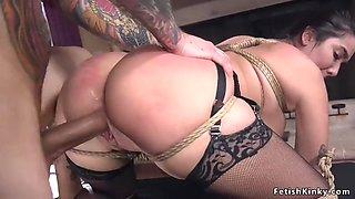 Hot busty maid fucked in bondage