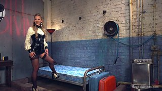 Angry mistress Cherie Deville puts on strpon and fucks ass of one tied up dude