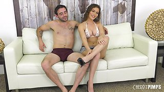Flexible chick Karter Foxx knows how to ride a dick on the couch