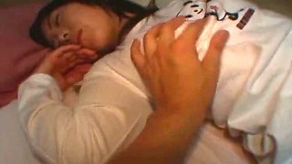 This pervert loves touching his girlfriend during her sleep