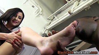 Interracial hoe foot fucks cock