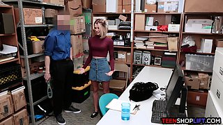 Petite teen thief banged by a LP officer in his office