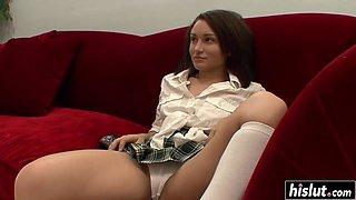 Hot schoolgirl gets a big cock