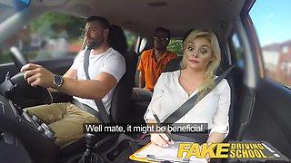 fake driving school sexy busty posh blonde examiner fucked