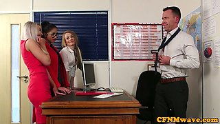 Office babes stroking subs cock during CFNM