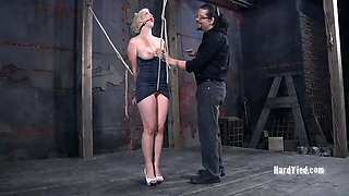Blonde in a nice dress is in need of kinky BDSM games