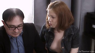 Petite shaved redhead gets fucked by her boss