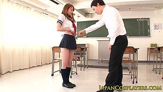 Japanese schoolgirl facialed in class cosplay