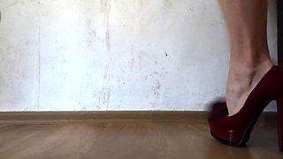 Foot fetishist's delight - perfect feet on stiletto heels