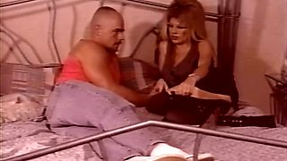 Sweet and sassy blonde milf on the bed blows dick of her lover