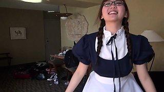 Fucking a busty asian maid