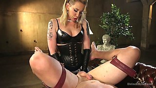 Oversexed mistress wearing strapon punishes anus of one kinky dude