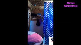 Hidden cam in bathroom spy on wife