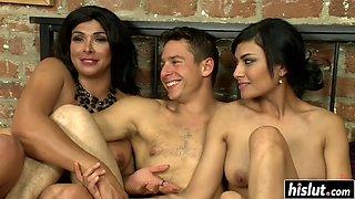 Horny tranny has fun with friends
