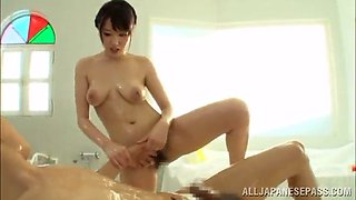 remarkable asian pornstar with a hairy pussy gets oiled up then fucked hardcore in the bathroom