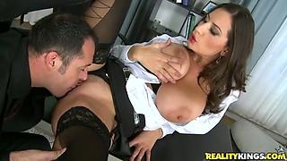 Perverted boss fucks naughty and busty secretary on the table