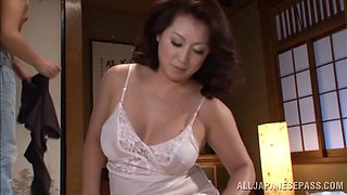 Mature Neko Ayami fucks a guy and masturbates in a toilet