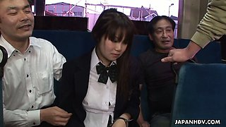 Sweet Japanese college girl in uniform Yayoi Yoshino a gang bang in the bus
