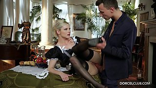 He has no choice but to savagely fuck his gorgeous maid