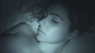 Gorgeous chick with big natural tits getting her pussy fingered while she's sleeping