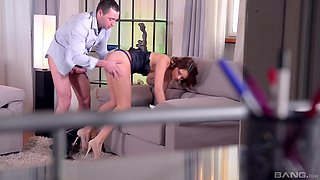 Naughty secretary Emily Thorne gets ass fucked by her boss